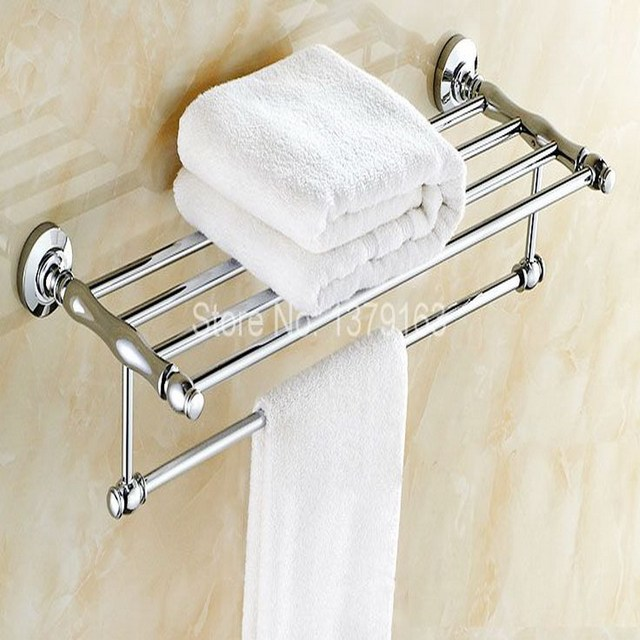 Bathroom Accessory Polished Chrome Wall Mounted Bathroom Large Towel Rail  Holder Storage Rack Shelf Bar Aba801
