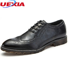 UEXIA Luxury Men Formal Shoe Leather Print Brown Derby Shoes Party Office Lace Up Mans Dress Footwear Wedding Oxford Male Shoes