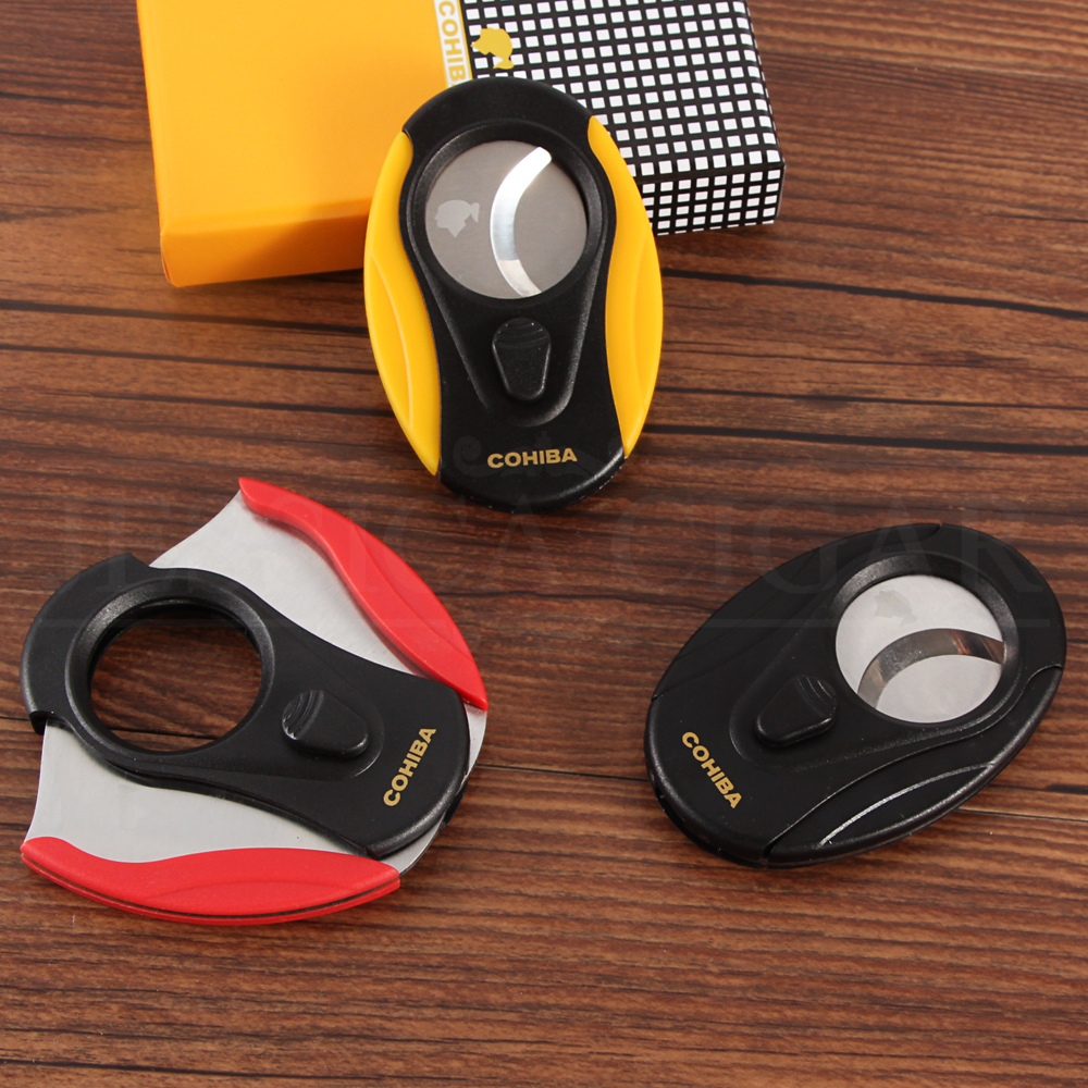 COHIBA Cigar Cutter Sharp Stainless Steel Double Blades Plastic Zigarre Cutter Cigar Scissor For Cuban Cigars Guillotine