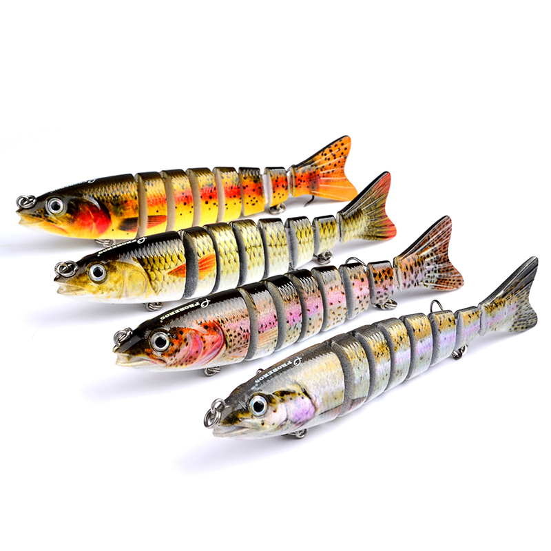 12.3cm Artificial Fishing Lure Bait 3D Eyes 8 Segments 2 Hooks Fish Lures Sea Fishing Swimbait Crankbait Tackle New 12 5cm 20g artificial fishing lure bait 3d eyes 9 segments fish lures sea fishing crankbait swimbait tackle with 2 hooks