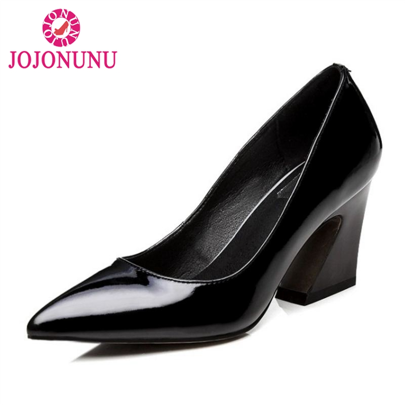JOJONUN Size 34-42 Office Lady Genuine Leather High Heel Shoes Women Patent Leather Thick Heels Pumps Party Club Women Footwears kemekiss size 32 45 women concise pumps square toe high heels shoes solid office lady thick heel pump party wedding footwears