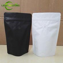 Leotrusting 50個マットホワイト/黒アルミ箔コーヒーバルブ袋スタンドアップ箔コーヒー豆包装袋50グラム〜2ポンドbag bagbag packbag black white