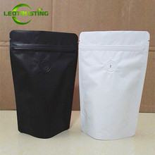 Leotrusting 50pcs Matt White/Black Aluminum Foil Coffee Valve Zip Lock Bag Stand up Foil Coffee Beans Packaging Bag 50g~2 pounds