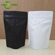 Leotrusting Válvula de café de papel de aluminio blanco mate/Negro, Bolsa con cierre de cremallera, bolsa de embalaje de granos de café de lámina de soporte, 50g ~ 2 libras, 50 Uds.