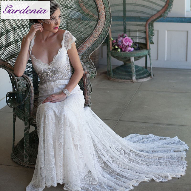 6b15d735 Sparkly Wedding Dresses Mermaid Lace Deep V Neck Cap Sleeve Bridal Gown  with Crystal Romantic Soft