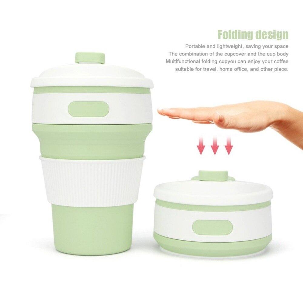 350 ml Silikon Outdoor Reise Versenkbare Falten Teleskop Zusammenklappbaren Wasserflasche Kaffee Tee Becher Tasse platzsparend