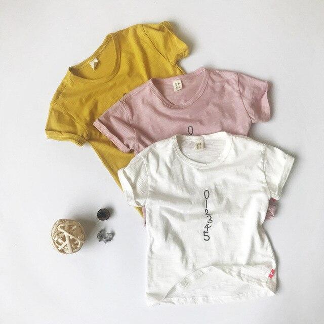 2018 חדש קיץ תינוק בני מספר דפוס מוצק צבע קצר שרוול 100% כותנה חולצה עבור 2-6 שנים
