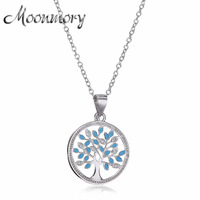 Moonmory Authentic 925 Sterling Silver Family Tree Chain 50cm Long Necklace Pendants For Women Jewelry Gifts