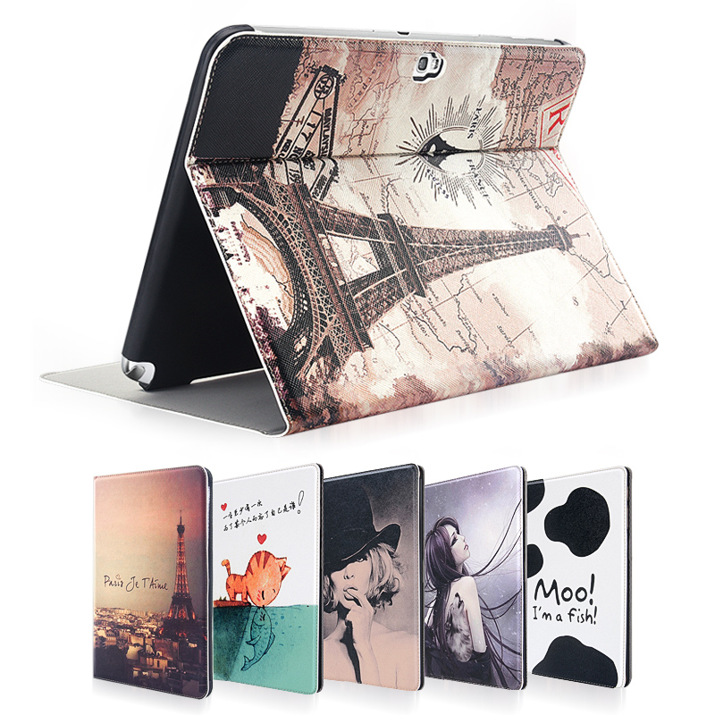 Colourful Lovely New Leather Case Protective cover For Samsung Galaxy Note 10.1 N8000 N8010 10.1 inch Tablet PC + Film + Stylus metal ring holder combo phone bag luxury shockproof case for samsung galaxy note 8