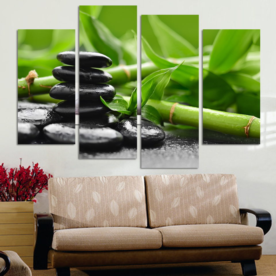 4 panels canvas stones with lucky bamboo painting on canvas wall 4 panels canvas stones with lucky bamboo painting on canvas wall art picture home decor fou068 in painting calligraphy from home garden on amipublicfo Images