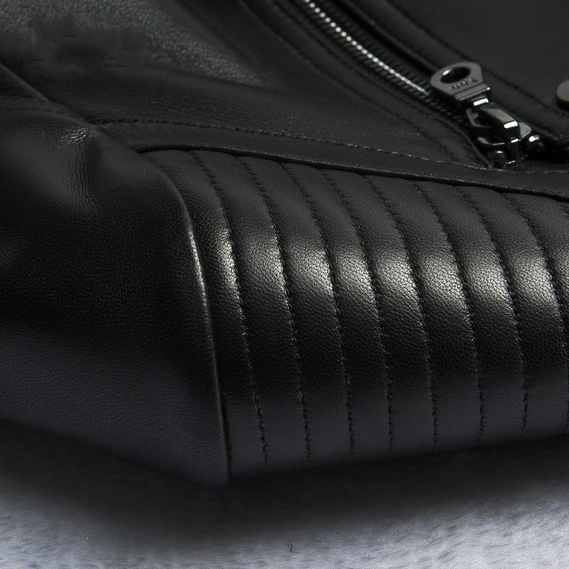 Moto Veste Cuir Véritable Z0083 Réel Court Vestes Mouton Printemps 2018 Femmes Nouveau Manteau Dames De Survêtement Peau En Noir IqOBwxS