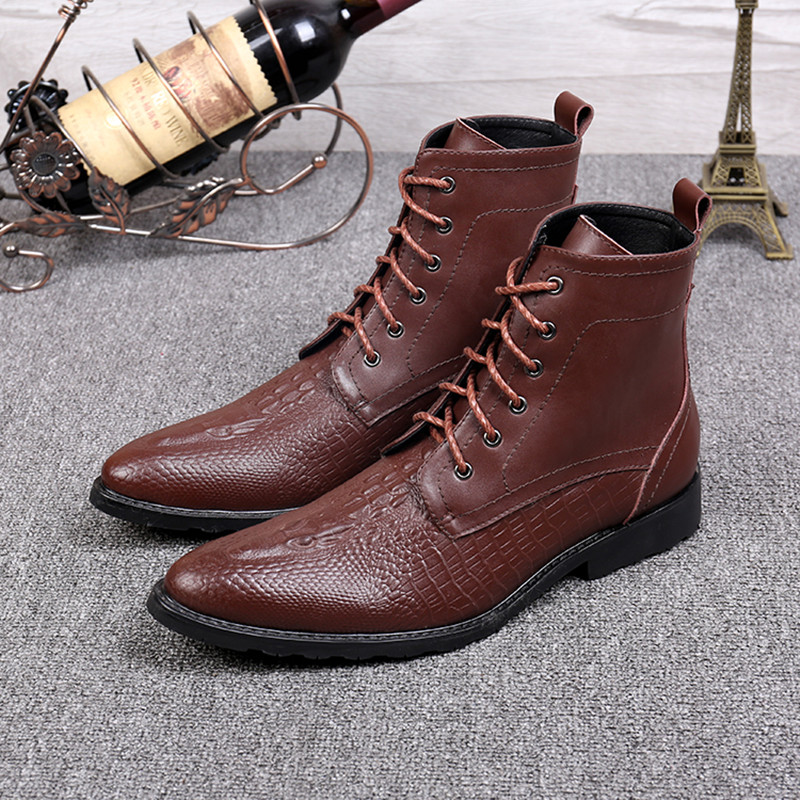 Christia Bella Brand Formal Men Dress Boots Genuine Leather Winter Men Ankle Boots Lace Up Booties Brown Motorcycle Cowboy Boots