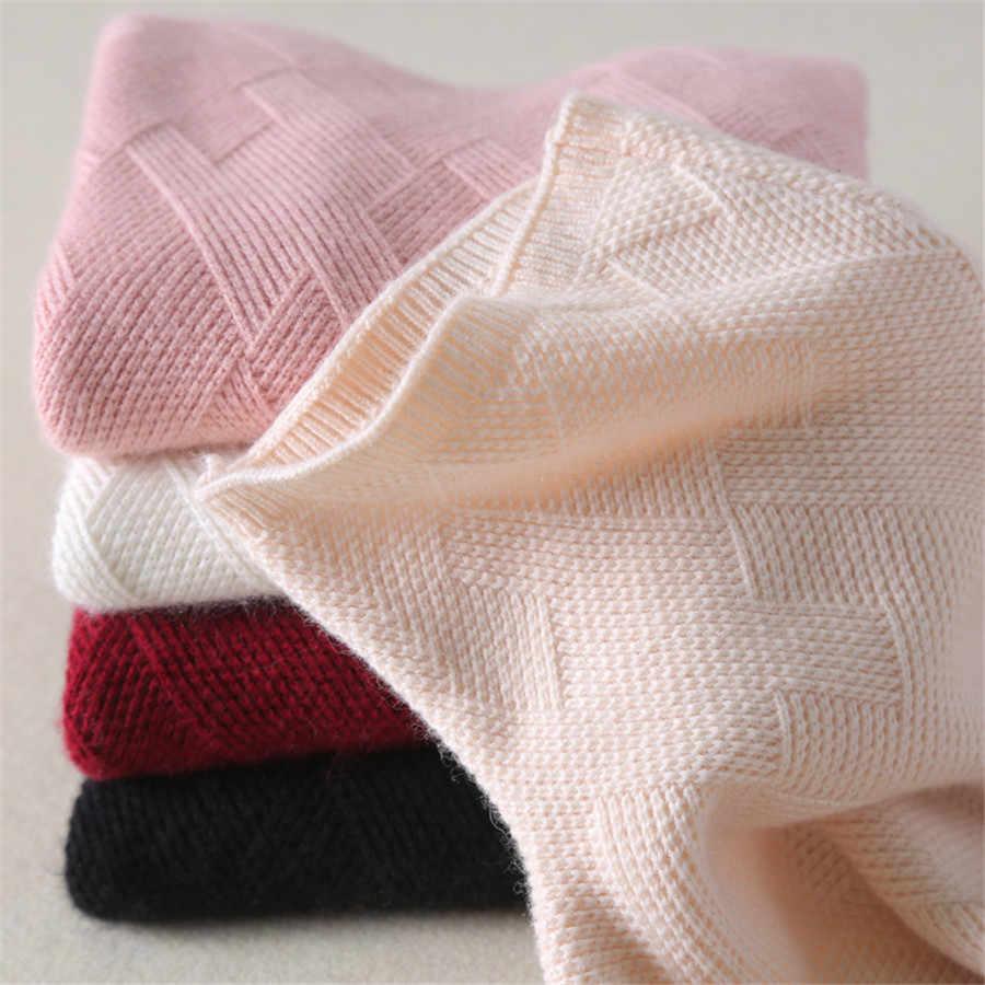 Sweater Kasmir Wanita Musim Dingin Tebal Pullover Turtleneck Pendek Wol Sweater Wanita Rajut Kemeja