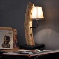 Юго Восточной Азии стиль ручной работы твердой древесины творческий спальня прикроватный настольная лампа Отель Inn номер настольная лампа