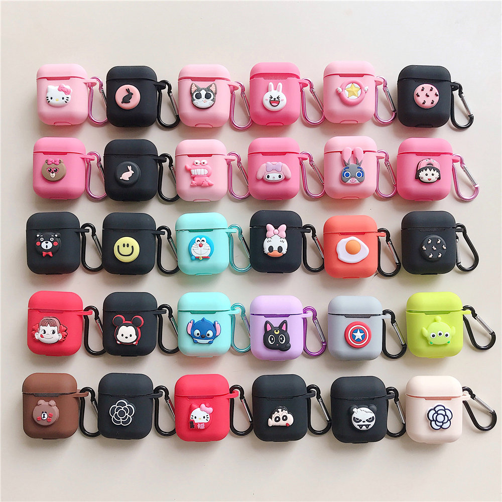 Shockproof Soft TPU Gel Case Cover with Keychain Carabiner for Apple AirPods Daisy Flowers On Compatible with AirPods 2 and 1