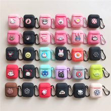 3D cartoon soft matte Silica gel rubber protection case For airpods kawaii cute cover for apple airpods keyring funda