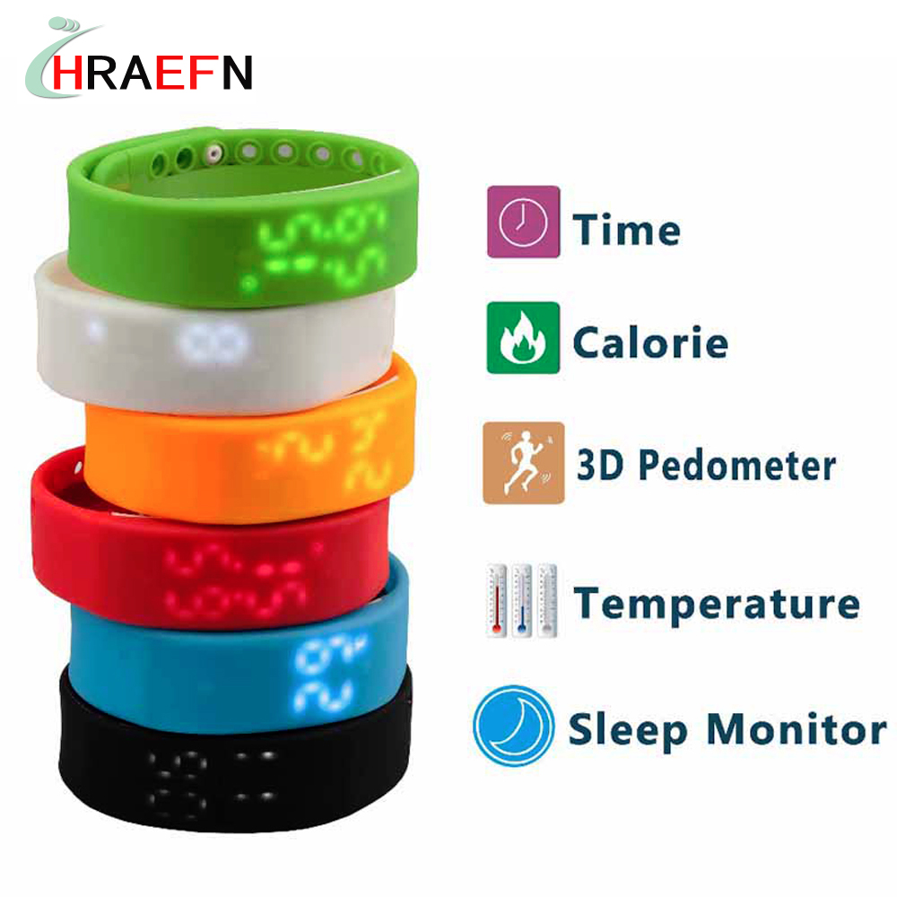 Hraefn Smart Band W2 Fitness Tracker Bracelet Real time Temperature Display Passometer USB Sports led watch