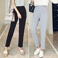 J2FE220 #8230 Nova Moda Feminina Magro Elastic Cintura Calças Elegantes Mulheres Causal Cor Sólida Tornozelo-comprimento Harem Pants