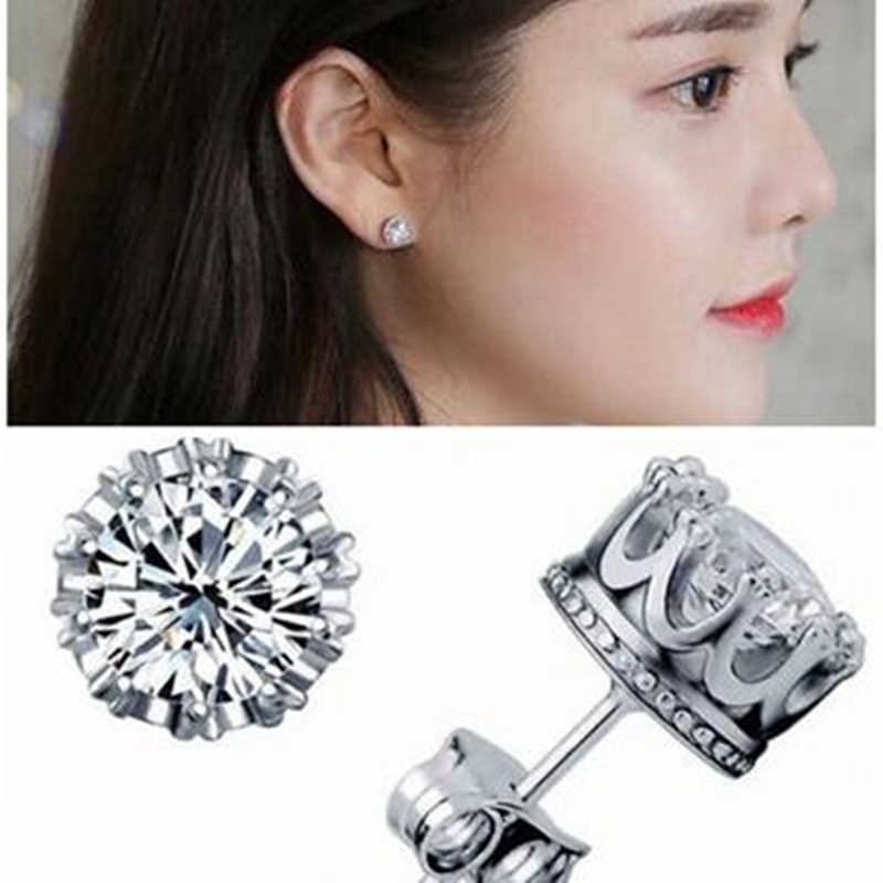Silver Plated Crystal Stud Earrings Female Fashion Jewelry Brincos Pendientes Crown Earrings For Women ER984