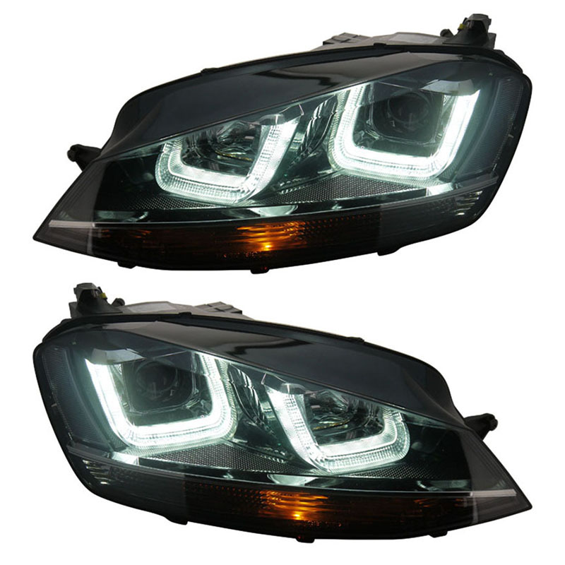 for VW Volkswagen Golf 7 Headlight Euro Version with Silver line
