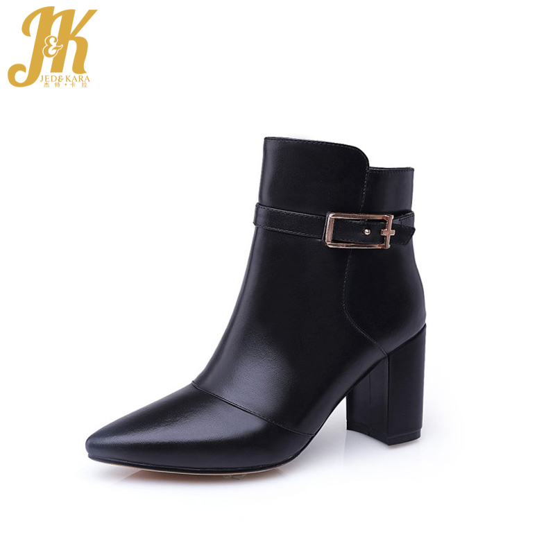 ФОТО 2017 Genuine Leather New Women Shoes Square High Heels Ankle Boots Sexy Pointed Toe Shoes Woman Elegant Women Boots Shoes