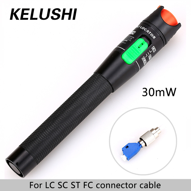KELUSHI 30MW Metal Fiber Optic Visual Fault Locator Red Laser Cable Tester Test Tool with LC/SC/ST/FC Adapter for CATV