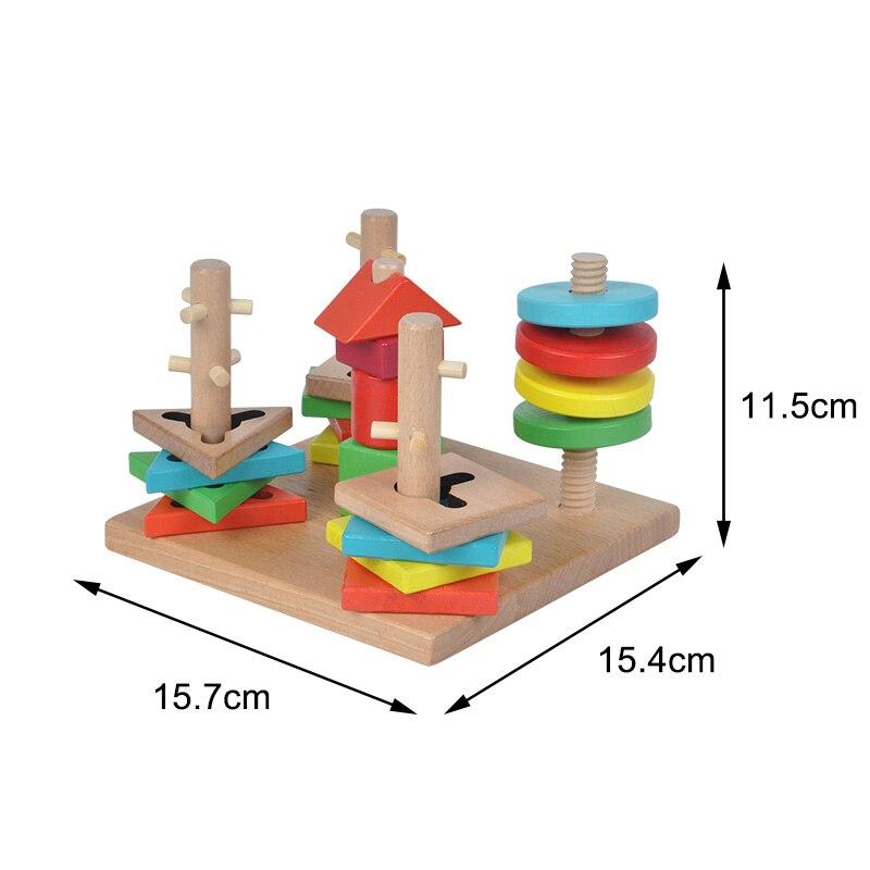 Kinder Holzspielzeug Montessori Lernspielzeug Turm Spiel Bausteine 5 ...