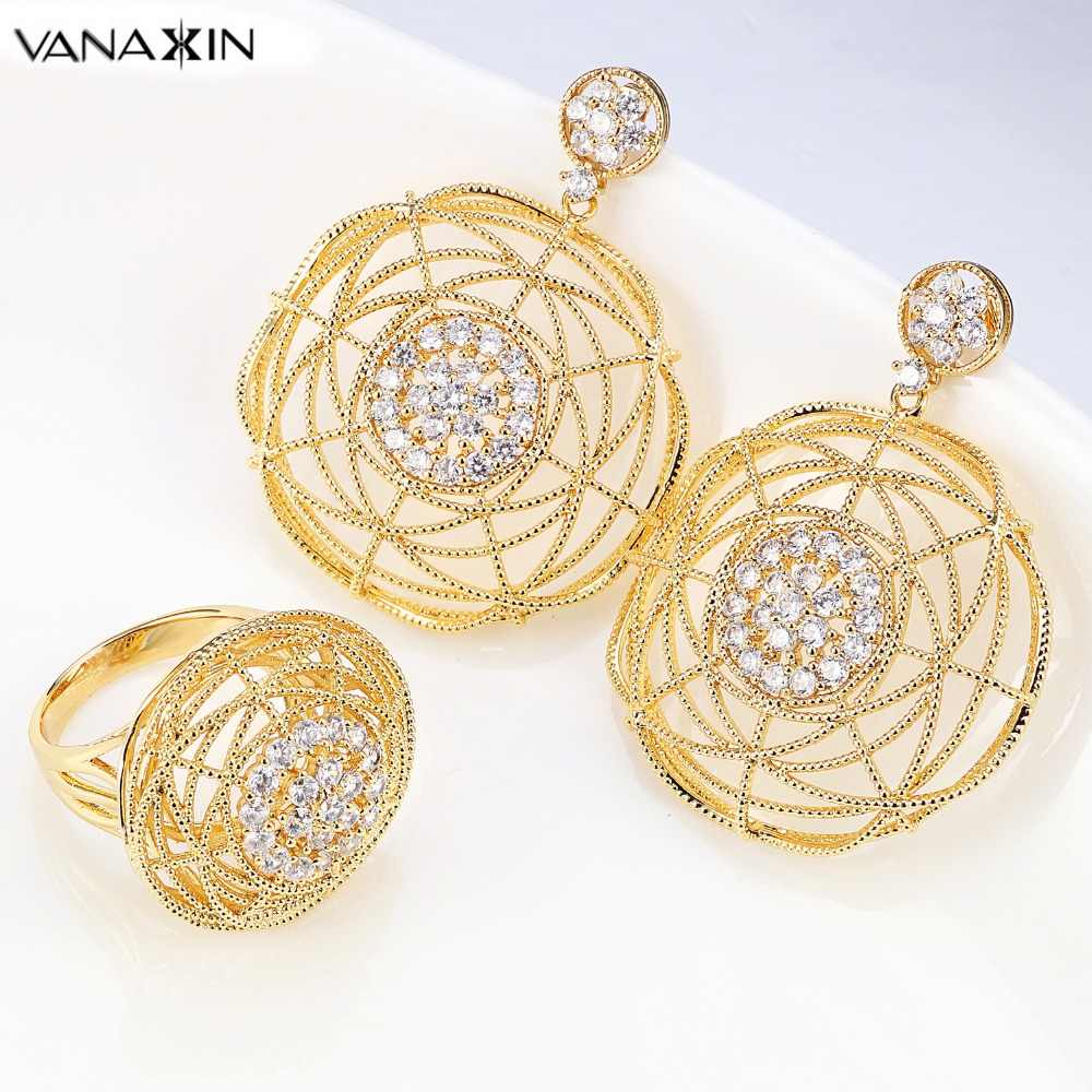 VANAXIN Brazil Jewelry Set Rose/Gold/Silver Color Crystal Earring//Ring for Women Round Set Top Quality Brincos De Festa Female