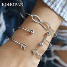 3PCS/Set Silver Alloy Bracelet Bangles For Women Simple Open Arrow Knotted Charms Fashion Jewelry brazalete mujer Gift