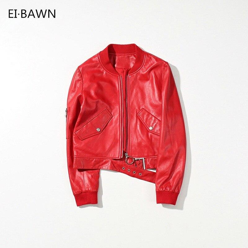 Leder Jacke Echtem Schaffell Streetwear Schwarz Rot Cropped Bomber Jacke Frauen Herbst 2018 Baseball Jacke Weibliche Jacke
