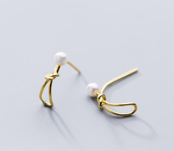 1 Paar Authentische Echt 100% 925 Sterling Silber Edlen Schmuck Shell Perle Offenen Liebe Knoten Stud Ohrringe Quaste Gtle2601