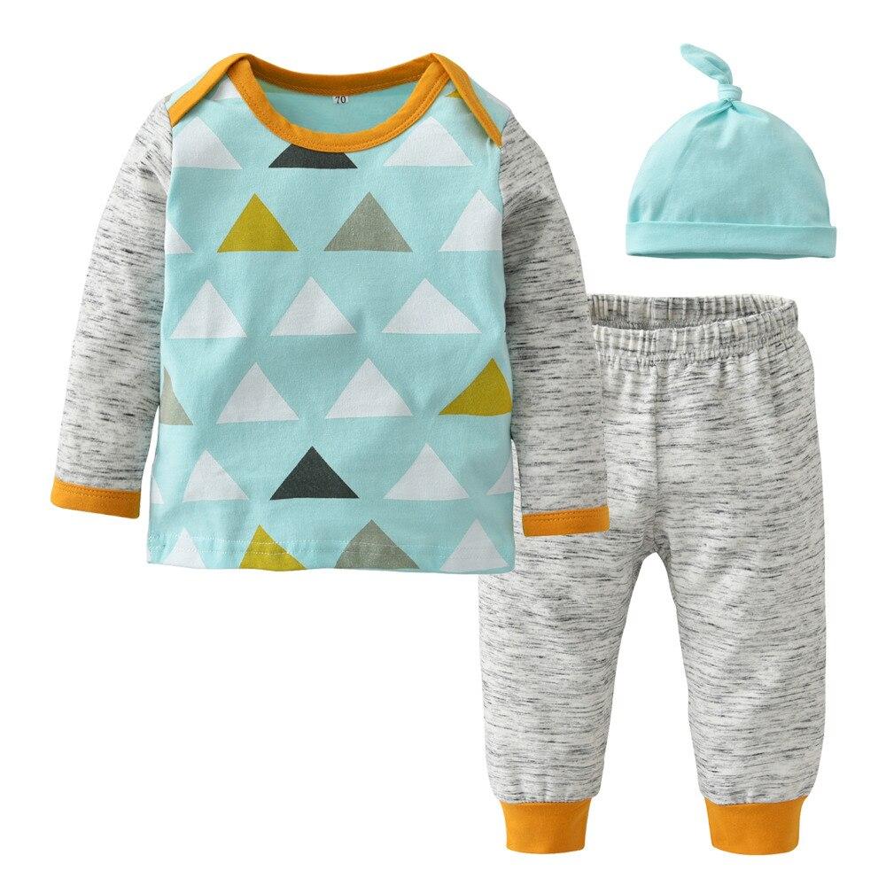 Комплект одежды для маленьких мальчиков осенний стиль хлопка с длинным рукавом Повседневное модный пэчворк 3 шт. малыша костюм детская одежда для новорожденных девочек