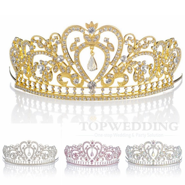 Gold/Silver/Pink/Multi Crown Two ToneHeart Bridal Tiara Pendant Wedding Pageant Party Crown Headband Clear Crystal Free Shipping