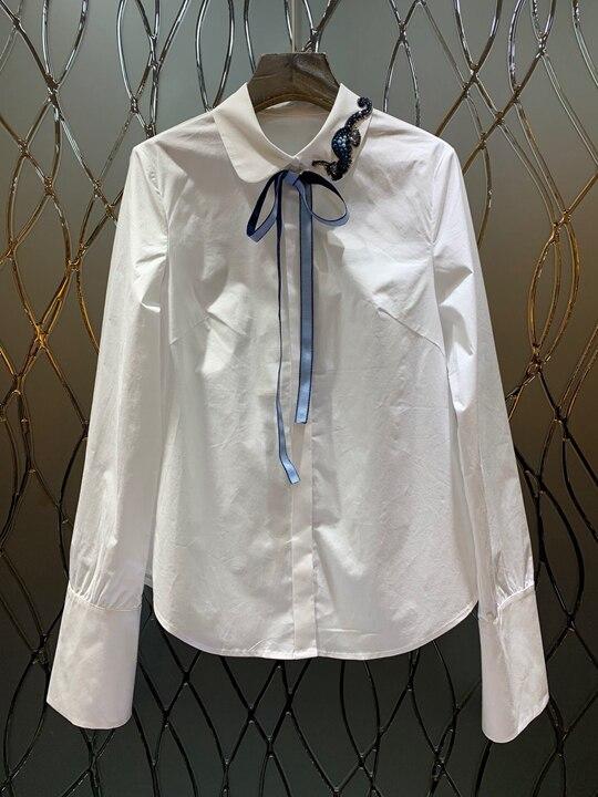 Couleur À Cravate Longues Top1222 Renversé 2019 assortie Du col Manches Décoratif Printemps Blanc up Cent Au cravate Début OnAPIYwqF