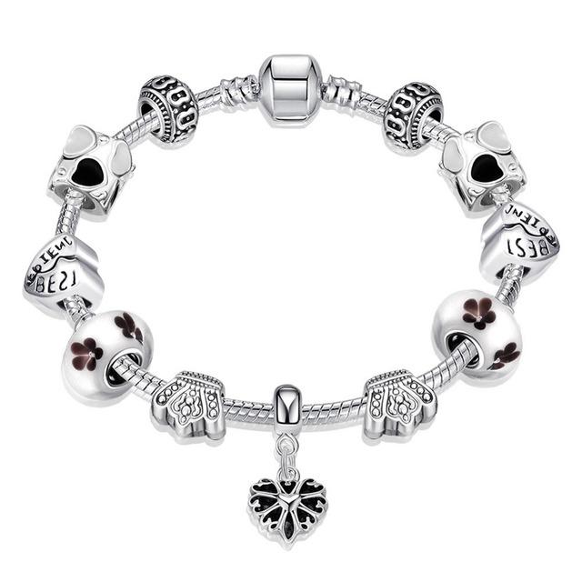 Nueva Moda De Joyería de Moda Colgante de Corazón Mejor Amigo Regalo Lindo Crown Crystal Beads Flowert Amistad Pulseras y Brazaletes de Plata