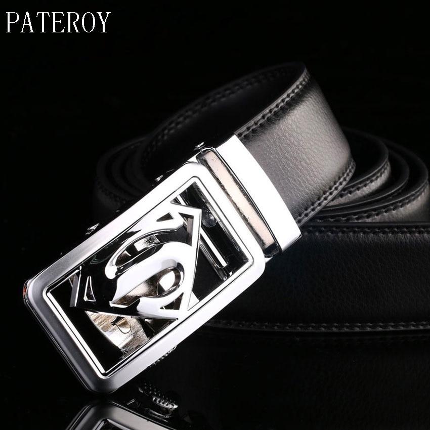 Pateroy Cinturón de cuero de los hombres Ceintures Cinturones de diseño para hombre de alta calidad Ceinture Homme de plata hebilla automática correa de cintura masculina Riem