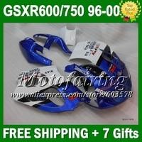 Новая сине бело для SUZUKI GSX R600 R750 SRAD GSXR 600 750 1996 1997 1998 1999 2000 L99 завод синий 96 97 98 99 00 зализа