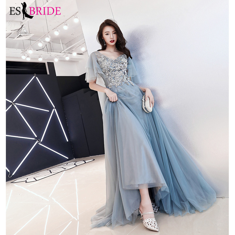 2019 New Arrival Long   Evening     Dresses   2019 Elegant Short Sleeve V-Neck Lace Plus Size Formal Gowns A-line Robe De Soiree ES1604