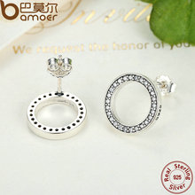 Forever Clear CZ 925 Sterling Silver Circle Round Stud Earrings (2 colors)