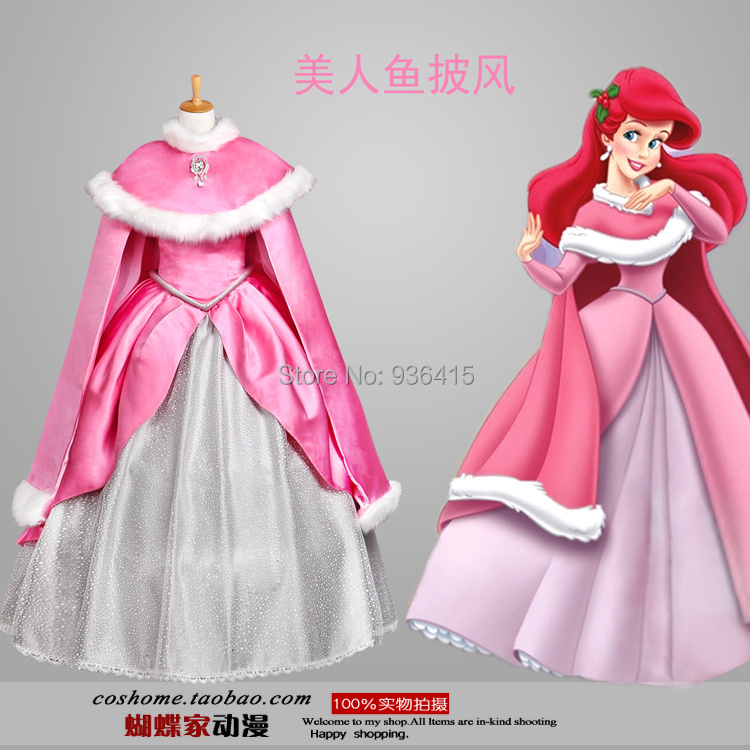 Free shipping New the litter mermaid Ariel princess cosplay costume fairy tale pink dress and cape for party