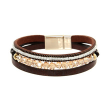 ORNAPEADIA New Hot Jewelry Bohemia bracelet VOGUE recommended style multilayer Luxury crystal Leather Bangles for women gift
