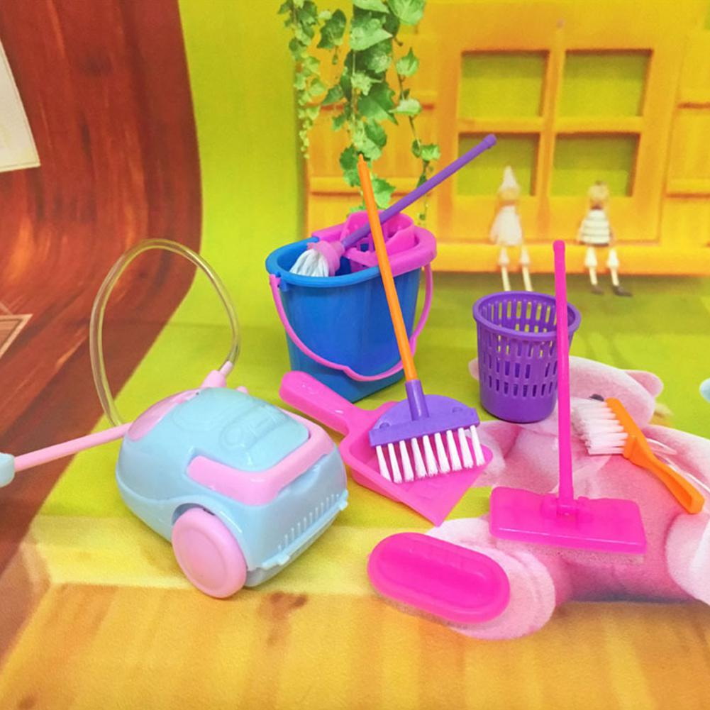 9Pcs Simulation Home Cleaning Tools Playset Mini Floor Broom Mop Dust Collector Toy Kids Pretend Play Toy Doll