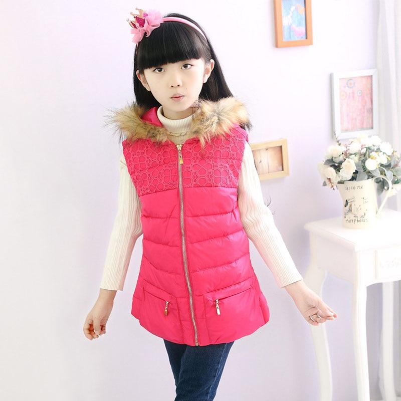 ФОТО Brand New 2016 Winter Girls Vest Children's clothing Coat Girls Cotton Padded Vest Waistcoat Kid Vest Outerwear Girl Jacket Vest