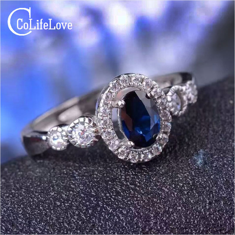 Luxurious gemstone silver ring 4 6 flawless natural sapphire ring solid 925 silver sapphire wedding ring