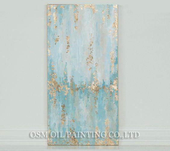 Επαγγελματικός Καλλιτέχνης Χειροποίητα Υψηλής Ποιότητας Αφηρημένα Υδρόβια και Χρυσά Χρώματα Ελαιογραφίες για Καμβά Καθιστικό Μοντέρνα Ζωγραφική
