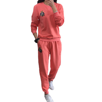 O Neck Sportwear Long Sleeve 2 Piece Pants Sets Embroidery Sweat Suits Women