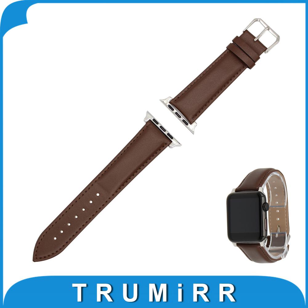 Prix pour Veau Véritable Bracelet En Cuir + Adaptateurs pour iWatch Apple Watch Sport Édition 38mm 42mm Bande Dragonne Bracelet Balck brun