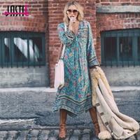 Jastie Gypsy Green Floral Print Dress 2017 Boho People Women Dress Tassel V Neck Long Sleeve