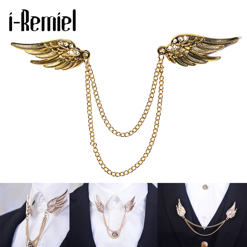 2017 Men Trendy Direct Selling Limited Brooches Fashion High-grade Brooch Male Tassel Angel Wings Buckle The Suit Of Pin Chain