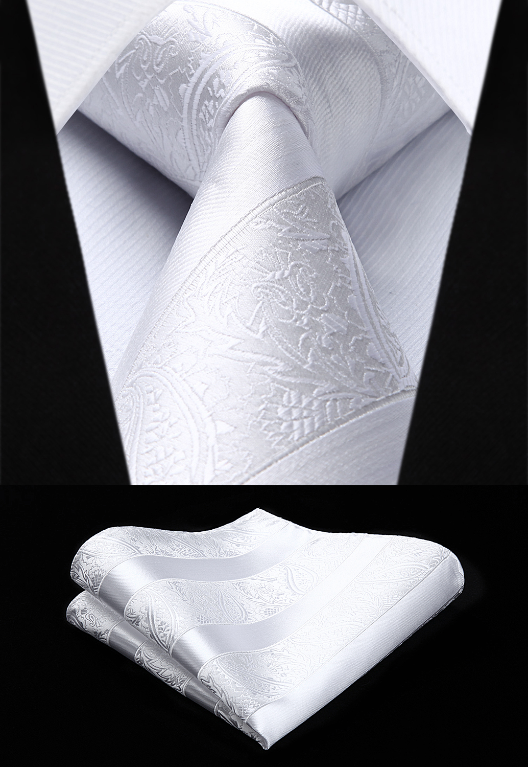 Woven Men White Tie Paisley Necktie Handkerchief Set#TP804W8S Party Wedding Classic Fashion Pocket Square Tie